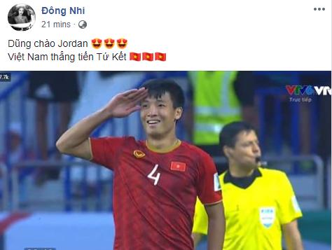Hà Tăng, HHen Niê... đồng loạt chúc mừng đội tuyển Việt Nam giành vé vào tứ kết Asian Cup 2019 - Ảnh 3.