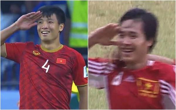 Sau 20 năm, bóng đá Việt lại tiếp tục được chứng kiến màn ăn mừng trùng hợp bất ngờ giữa Tiến Dũng và danh thủ Hồng Sơn - Ảnh 4.