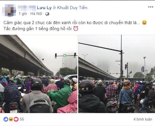 Tắc đường kinh hoàng ở Hà Nội sáng nay: Qua 20 cái đèn xanh rồi mà vẫn không thể di chuyển - ảnh 4