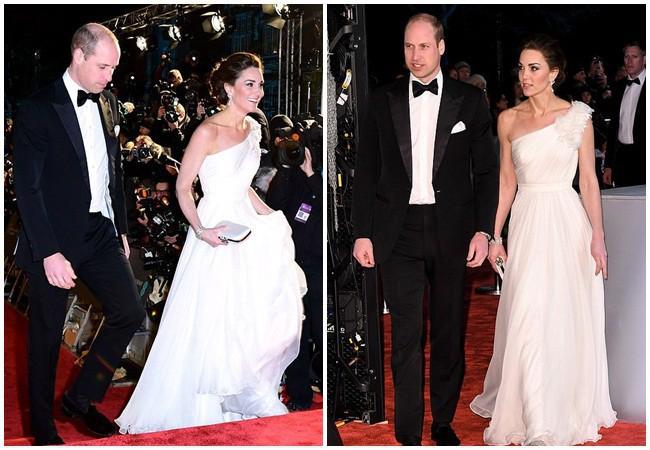 Công nương Kate xinh đẹp như nữ thần trong chiếc đầm trắng lệch vai thanh lịch, sang trọng.