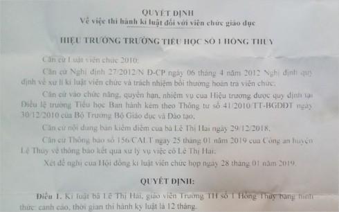Cô giáo ở Quảng Bình tát học sinh chảy máu tai bị phạt 2,5 triệu đồng - Ảnh 1.