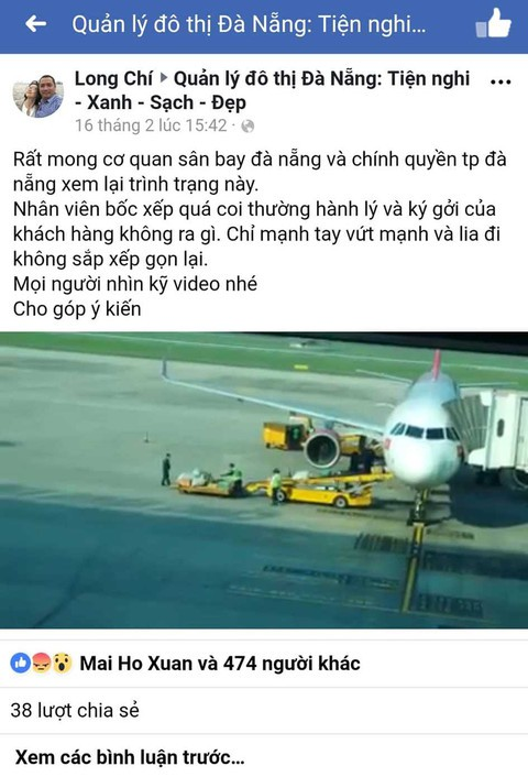 Clip nhân viên sân bay Đà Nẵng ném hành lý hành khách - Ảnh 1.
