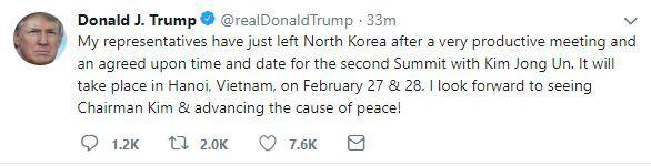 TT Trump xác nhận gặp ông Kim Jong-un tại Hà Nội, nói Triều Tiên là tên lửa kinh tế - Ảnh 1.