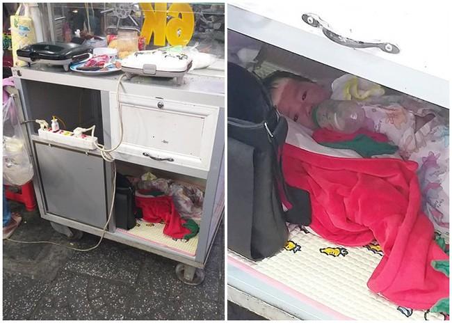 Em bé nằm bú sữa dưới hộc tủ, phía trên mẹ tất bật mưu sinh: Bé rất ngoan, biết thương mẹ, gia đình vẫn lo được cho con - ảnh 1