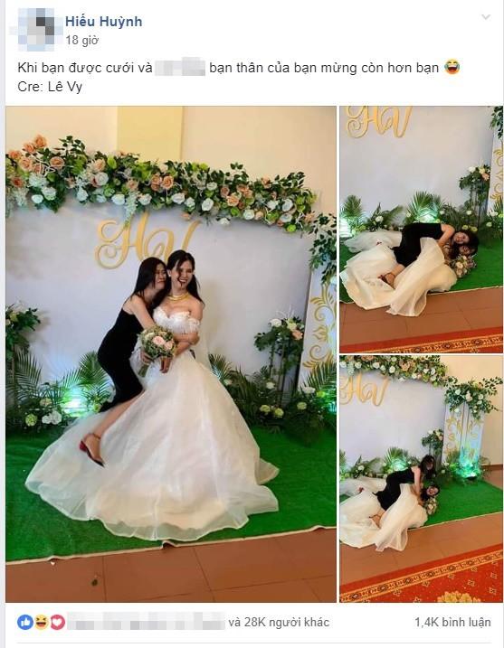 Chụp ảnh với cô dâu, cô bạn thân bất ngờ gây chú ý hơn với loạt biểu cảm khó đỡ - Ảnh 1.