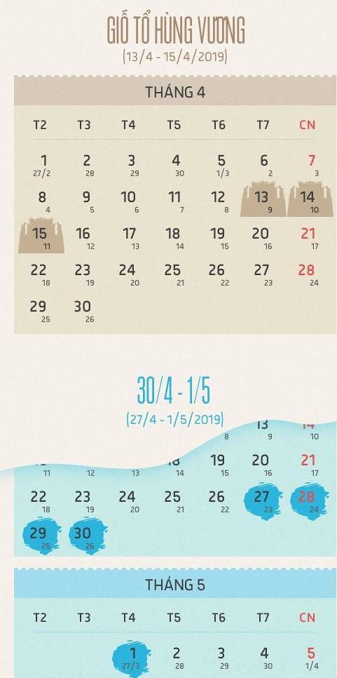 Chi tiết lịch nghỉ lễ ngày giỗ Tổ Hùng Vương và dịp 30/4 - 1/5