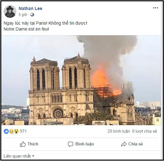 Sao Việt đau xót cầu nguyện trước cảnh tượng Nhà thờ Đức Bà Paris chìm trong biển lửa - Ảnh 2.