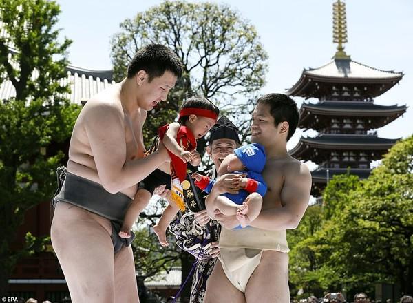 Võ sĩ sumo dụ trẻ khóc để cầu sức khỏe và may mắn tại Nhật Bản - Ảnh 4.