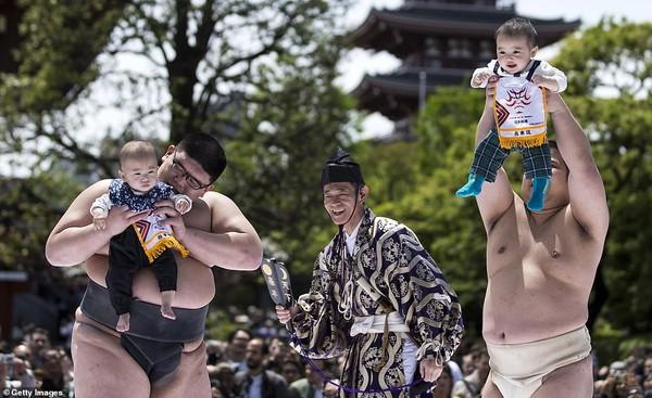 Võ sĩ sumo dụ trẻ khóc để cầu sức khỏe và may mắn tại Nhật Bản - Ảnh 6.