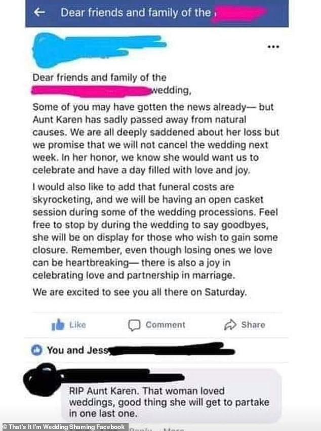 Bài đăng của cô dâu. (nguồn: Facebook)