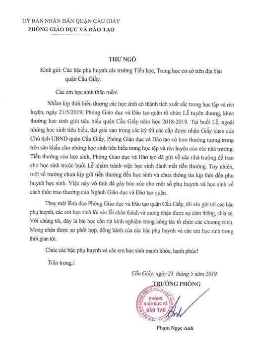 Trưởng Phòng GD&ĐT quận Cầu Giấy gửi thư xin lỗi vụ thưởng học sinh giỏi tờ giấy A4 - Ảnh 2.