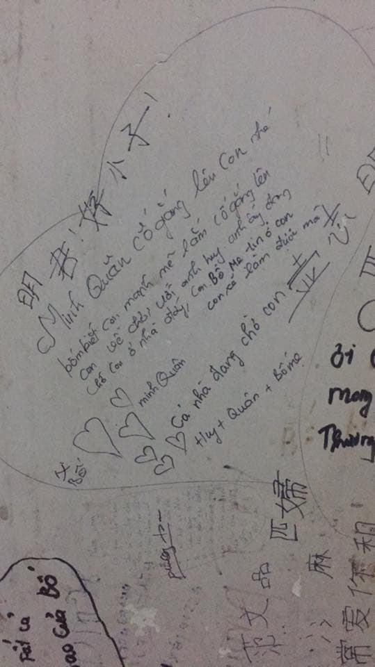 Vào viện, những dòng chữ trên tường bố mẹ viết cho con khiến người ta ám ảnh - Ảnh 2.