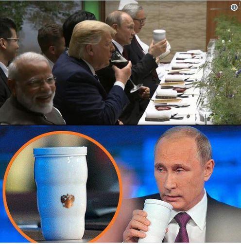 Ông Putin dùng cốc riêng ở G-20, rộ đồn đoán Tổng thống Nga lo bị đầu độc - Ảnh 1.