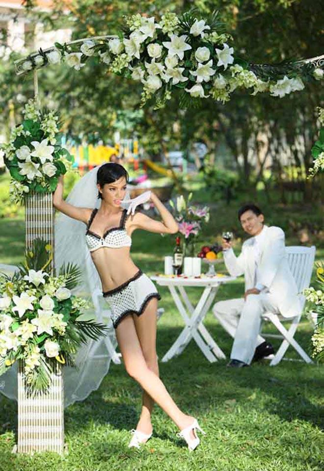 Ảnh cưới mặc bikini nóng bỏng, táo bạo của 3 mỹ nhân showbiz Việt - Ảnh 4.