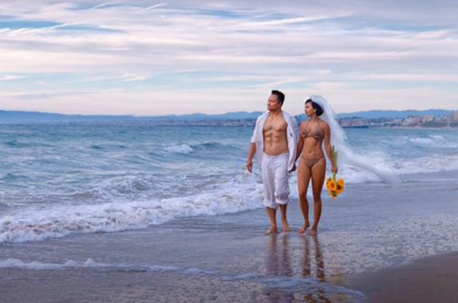 Ảnh cưới mặc bikini nóng bỏng, táo bạo của 3 mỹ nhân showbiz Việt - Ảnh 12.