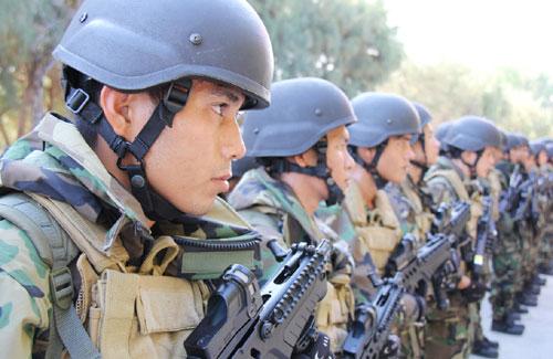 Nằm trong bộ trang bị mới của lực lượng Hải quân đánh bộ, mũ Kevlar chống đạn trên có hình dáng giống với kiểu mũ chống đạn MICH 2000 của Quân đội Mỹ. Mũ có khả năng chống được mảnh văng, đạn súng ngắn 9mm.