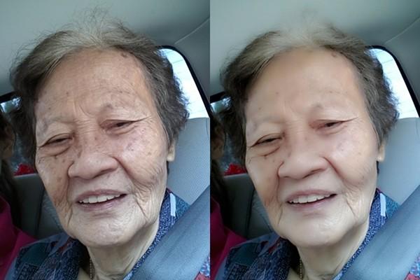 Một cô gái đăng ảnh mẹ chồng của mình trước và sau khi cô sử dụng phần mềm  chỉnh sửa Camera360 để chỉnh ảnh của bà.