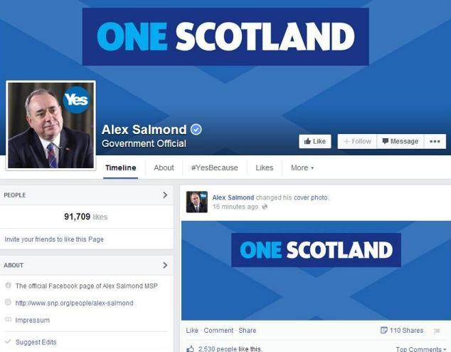 Thủ hiến Alex Salmond cũng đã thay cover của Chiến dịch Yes Scotland trên Facebook của mình thành One Scotland sau thất bại của chiến dịch.