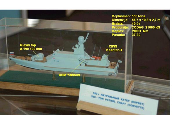 Mô hình tàu PS-500 với hệ thống Kashtan và pháo A-190E, người chú thích bức ảnh này đã nhầm lẫn về tên lửa Yakhont, mô hình này vẫn sử dụng tên lửa Uran.