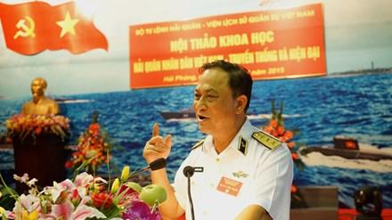 Đô đốc Nguyễn Văn Hiến, Tư lệnh Quân chủng Hải quân, nêu bật truyền thống quyết chiến quyết thắng của lực lượng hải quân.