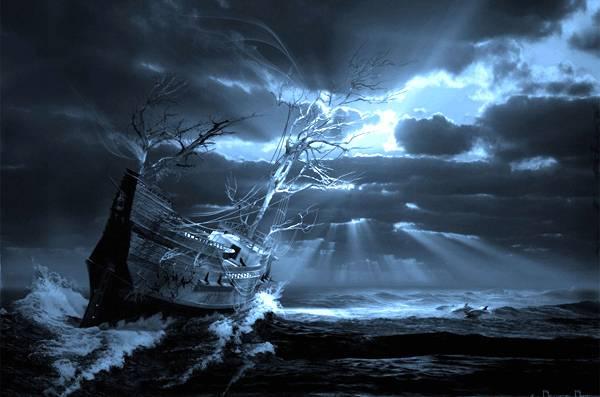 Con tàu bỗng xuất hiện trong đêm tối rồi lại tan biến như làn sương.