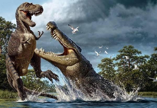Cá sấu Deinosuchus - Hóa thạch lớn nhất của loài này là dài 10m và nặng 5 tấn.