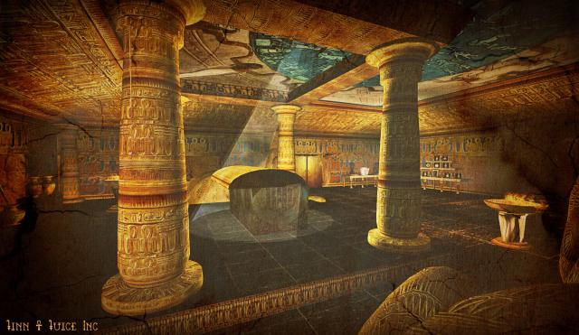 Hình ảnh mô phỏng bên trogn lăng mộ ở Ai Cập