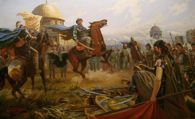Hình ảnh quân Thập tự thất bại trước quân của Saladin. Hình minh họa