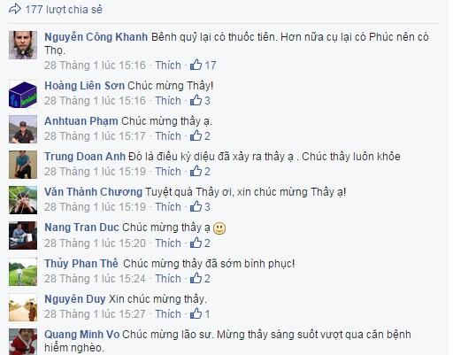 Nhiều người gửi lời chúc mừng, động viên đến PGS.TS Văn Như Cương qua facebook. (ảnh chụp từ facebook).