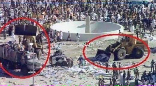 Tấm ảnh bị đồn thổi rằng Ả Rập Saudi dọn dẹp thi thể người hành hương. Ảnh: France24