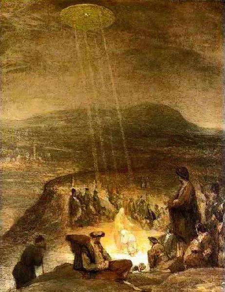 Bức họa cho thấy rõ ức họa này có hình đĩa bay kỳ lạ chiếu tia sáng xuống đầu Chúa Jesus.