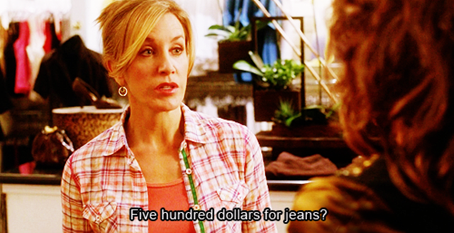 500 đôla cho một cái quần jean? Tôi sẽ không mua khi nó không có sẵn 400 đô trong túi.
