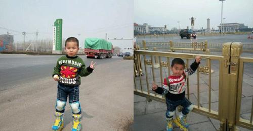 Hàng ngày, họ đi từ lúc 8 giờ sáng, di chuyển bằng cách trượt patin dọc theo quốc lộ 106 trong hành trình đến Bắc Kinh. Cứ trượt khoảng 1 giờ, họ sẽ dừng lại, nghỉ ngơi một chút để ăn và uống nước. Trước khi màn đêm buông xuống, anh Zhang sẽ tìm chỗ trú chân vì cậu con trai còn quá nhỏ. Mỗi lần đến một thị trấn mới, anh đều chụp lại hình ảnh cậu con trai mình trên đường cao tốc và đăng tải trên trang mạng Weibo. Tổng cộng, anh đã chụp tới hơn 600 bức ảnh