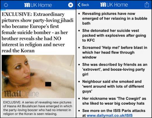 Cô gái Morocco bị báo Daily Mail (Anh) nhận nhầm là nữ đồng phạm trong vụ khủng bố Paris. Ảnh: France24