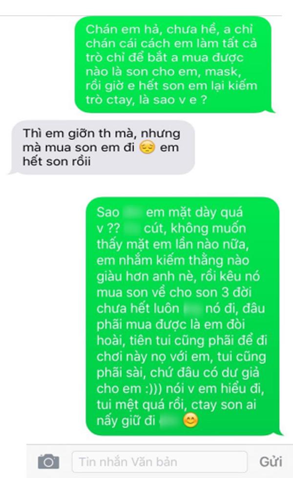 Cô gái nhắn tin đòi người yêu mua son, nếu không sẽ chia tay