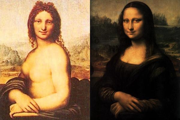 Bức tranh Monna Vanna (trái) và Mona Lisa (phải).