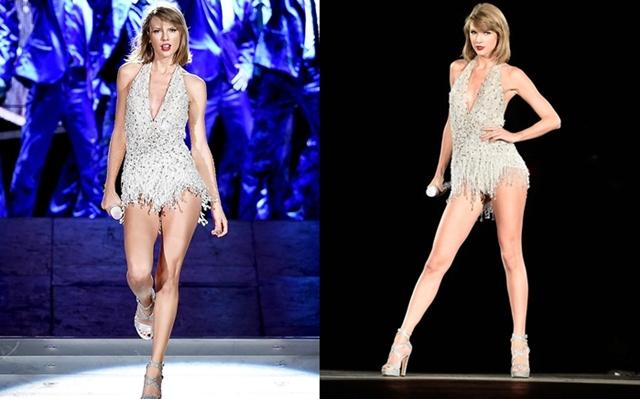 Tại 1989 Tour, Taylor Swift gợi cảm với những bộ bodysuit được đính sequin top-to-toe. Đôi chân dài thẳng tắp của cô nàng được khoe triệt để.