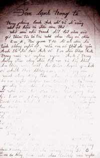 Bài thơ Cu Nên viết trong những ngày ở tù chờ thi hành án tử (Ảnh: Internet)