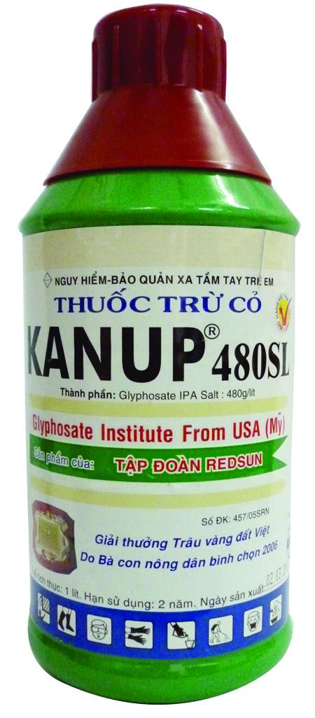 Thuốc trừ cỏ KANUP 480SL có thành phần Glyphosate IPA Salt 480gr/l.