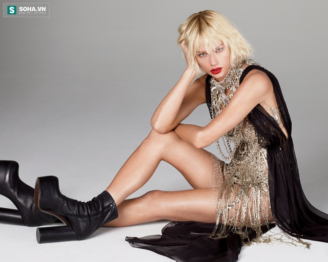 Taylor Swift khoe chân dài trên tạp chí Vogue số tháng 5 năm 2016.