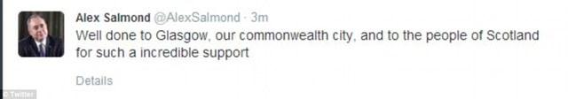 Ông Salmond chia sẻ trên Twitter ngay trước bài phát biểu của mình tại Edinburgh.
