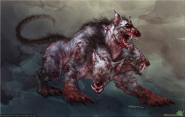 Cerberus hay Kerberos - con vật canh giữ ở cổng địa ngục, là con chó săn ba đầu của Hades, với cái đuôi rắn.