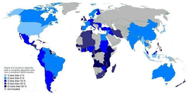Bản đồ tỷ lệ dân số có trình độ Đại học của 1 nước đang sinh sống tại một quốc gia khác thuộc OECD (Tổ chức Hợp tác và Phát triển Kinh tế) 1. Dưới 2% 2. Dưới 5% 3. Dưới 10% 4. DƯới 20% 5. Hơn 20% 6. Không bao gồm.