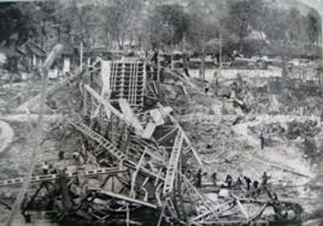 Thị xã Lạng Sơn bị quân Trung Quốc tàn phá (Ảnh: tư liệu).