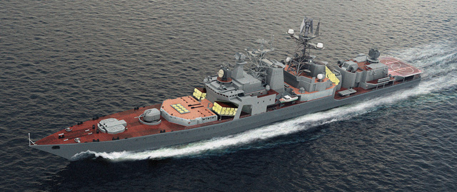 Ảnh đồ họa phương án lắp đặt bệ phóng nghiêng đa năng 3S-14PE lên khinh hạm thuộc Đề án 11356 và tàu khu trục thuộc Đề án 1155