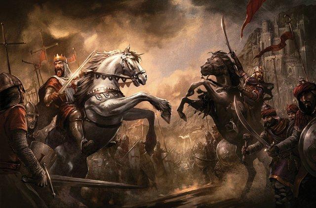 Trận Hattin năm 1187 là cuộc đấu trí và sức giữa Vua Guy và Saladin. Hình minh họa