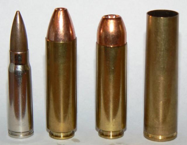 Từ phải qua trái: vỏ đạn 12,7 x 55 mm, 0.499 LWR, 0.50 Beowulf và 7,62 x 39 mm