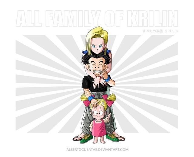 Krilin đầu không trọc và cô vợ người máy Android 18 bên cạnh con gái siêu