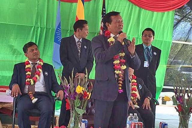Kem Sokha trong một bài phát biểu tại Mỹ. Ảnh: Phnom Penh Post