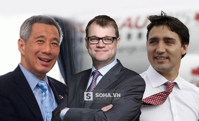 Từ trái qua: Ông Lý Hiển Long (Thủ tướng Singapore ); Ông Juha Sipilä (Thủ tướng Phần Lan); Ông Justin Trudeau (Thủ tướng Canada). Xử lý ảnh: Mạnh Quân